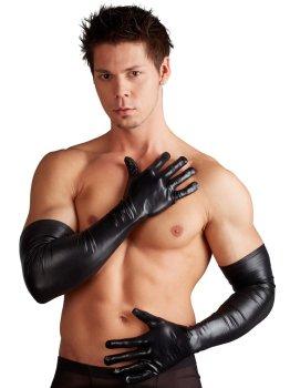 Dlouhé lesklé pánské rukavice – Doplňky k pánskému erotickému prádlu