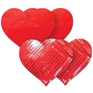 Samolepicí ozdoby na bradavky Nippies Red Heart – Samolepicí ozdoby na prsa a bradavky