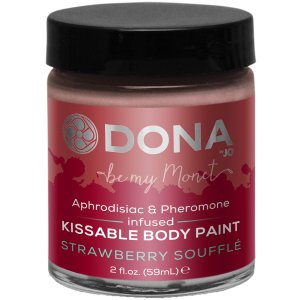 Slíbatelný bodypainting s afrodiziaky a feromony - jahodové soufflé – Bodypainting, malování na tělo