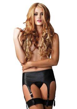 Vysoký podvazkový pás ve wetlook stylu – Sexy dámské podvazky a podvazkové pásy