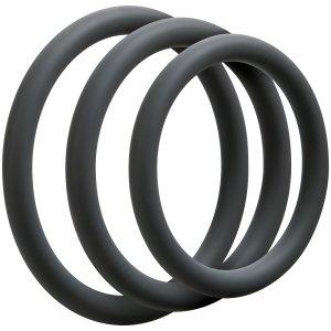 Sada tenkých erekčních kroužků OptiMALE Thin – Nevibrační erekční kroužky