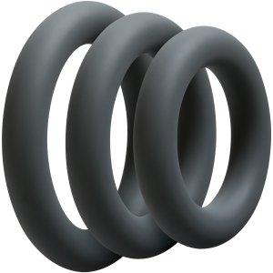 Nevibrační erekční kroužky: Sada tlustých erekčních kroužků OptiMALE Thick
