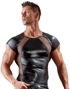 Lesklé pánské tričko se síťovanými vsadkami – Pánská trička, tílka a topy