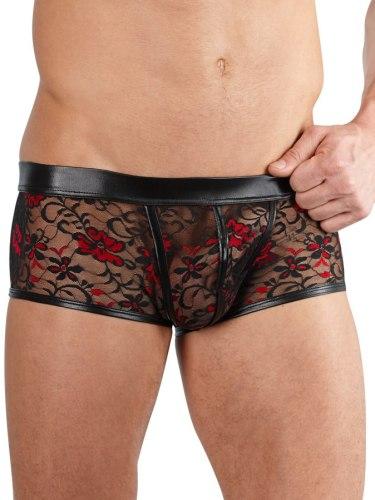 Pánské boxerky, jocksy, slipy a tanga: Pánské krajkové boxerky s lesklými detaily, černo-červené
