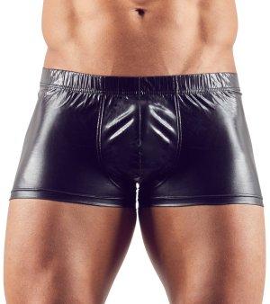 Lesklé boxerky s odnímatelným kovovým erekčním kroužkem – Pánské boxerky, jocksy, slipy a tanga