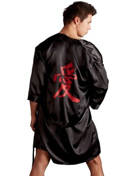 Luxusní pánské saténové kimono – Doplňky k pánskému erotickému prádlu