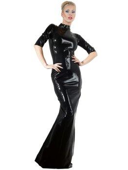 Dlouhé latexové šaty s krátkými rukávy a stojáčkem – Latexové prádlo a oblečení pro ženy