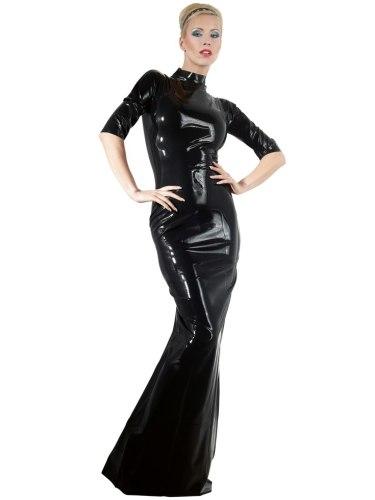 Latexové prádlo a oblečení pro ženy: Dlouhé latexové šaty s krátkými rukávy a stojáčkem