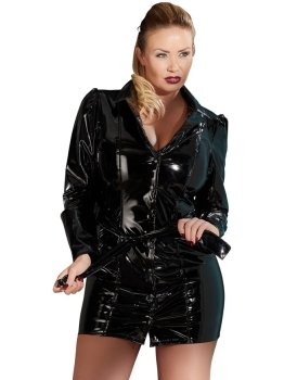 Lakovaný kabát/šaty s páskem – Dámské lakované prádlo, oblečení a obuv (vinyl)
