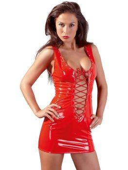 Červené lakované minišaty s hlubokým výstřihem a šněrováním – Sexy šaty a minišaty