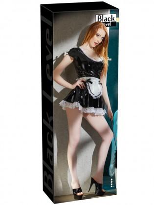 Lakovaný kostým Servírka - černé šaty s bílou krajkou