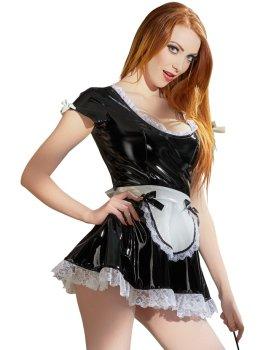 Lakovaný kostým Servírka - černé šaty s bílou krajkou – Dámské lakované prádlo, oblečení a obuv (vinyl)