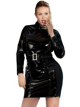 Lakované šaty s dlouhými rukávy a páskem – Lakované šaty
