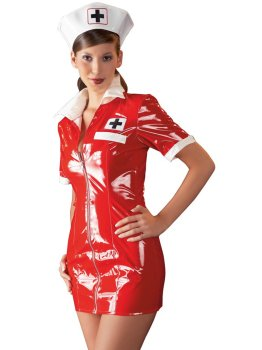 Lakovaný kostým Zdravotní sestra - červené šaty a čepeček – Dámské lakované prádlo, oblečení a obuv (vinyl)