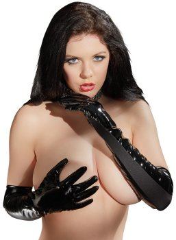 Lakované rukavice (s elastickými vsadkami) – Dámské lakované prádlo, oblečení a obuv (vinyl)