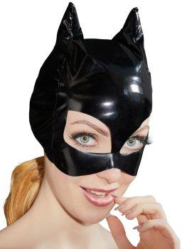 Lakovaná maska s kočičíma ušima – Dámské lakované prádlo, oblečení a obuv (vinyl)