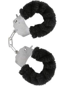 Pouta na ruce s plyšovým kožíškem, černá – Něžné BDSM
