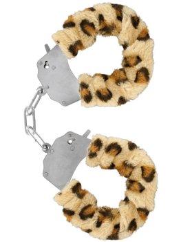 Pouta na ruce s plyšovým kožíškem, leopard – Něžné BDSM