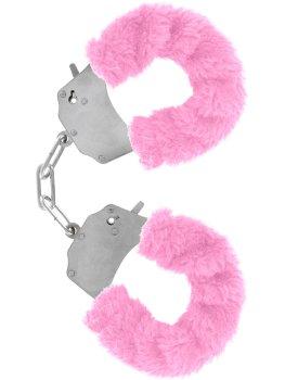 Pouta na ruce s plyšovým kožíškem, růžová – Něžné BDSM