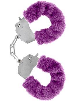 Pouta na ruce s plyšovým kožíškem, fialová – Něžné BDSM