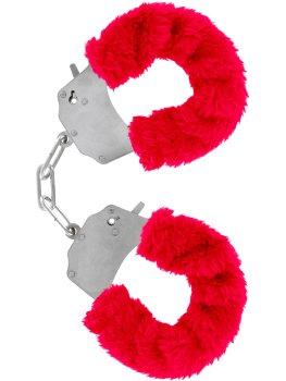 Pouta na ruce s plyšovým kožíškem, červená – Něžné BDSM