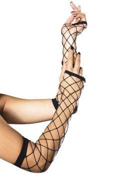 Dlouhé síťované návleky na ruce - s velkými oky – Sexy dámské rukavice a návleky na ruce