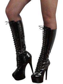 Vysoké lakované kozačky se šněrováním - na jehlovém podpatku – Sexy erotická obuv, boty do postele