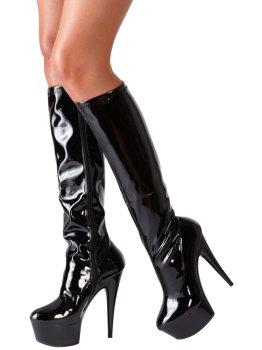 Lakované kozačky na vysokém podpatku Cottelli Collection – Sexy erotická obuv, boty do postele