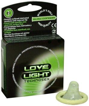 Svítící kondomy Love Light Technosex – Svítící kondomy