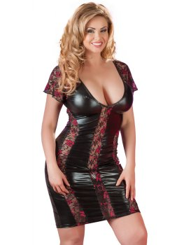 Lesklé šaty s průsvitnými krajkovými vsadkami – Sexy šaty a minišaty