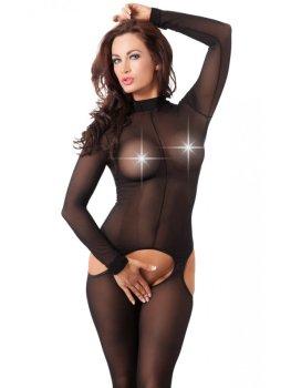 Průsvitný catsuit s límečkem a otevřeným rozkrokem Amorable – Dámské catsuity a overaly