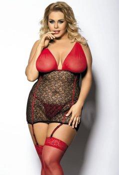 Sexy krajkové minišaty s podvazky Yammy Gorgeous – Erotické prádlo ve větších velikostech