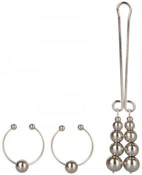 Sada intimních šperků SILVER - ozdoby na bradavky a klitoris – Krásné ozdoby na bradavky