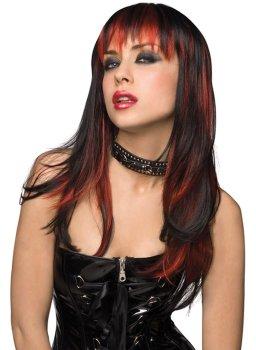 Paruka Courtney - dlouhá, černá s červeným melírem – Paruky