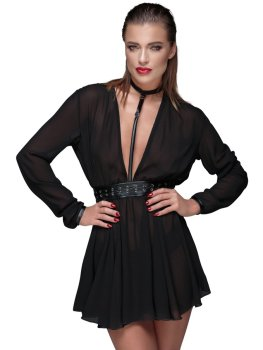 Průsvitné minišaty s obojkem a ozdobným opaskem – Sexy šaty a minišaty