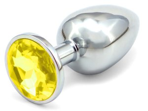 Anální kolík se šperkem, žlutý - MALÝ – Anální kolíky se šperkem