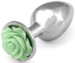Anální kolík s růžičkou, světle zelený – Anální kolíky se šperkem