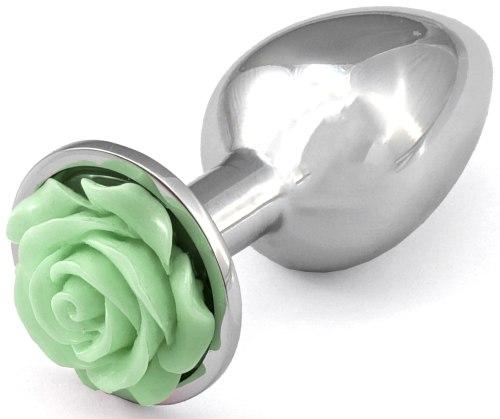 Anální kolík s růžičkou, světle zelený