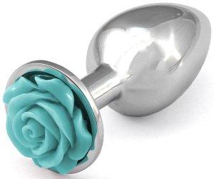 Anální kolík s růžičkou, světle modrý – Anální kolíky se šperkem