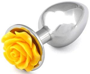 Anální kolík s růžičkou, žlutý – Anální kolíky se šperkem