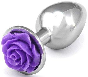 Anální kolík s růžičkou, fialový – Anální kolíky se šperkem