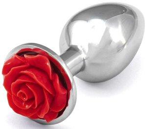 Anální kolík s růžičkou, červený – Anální kolíky se šperkem