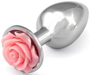Anální kolík s růžičkou, světle růžový – Anální kolíky se šperkem