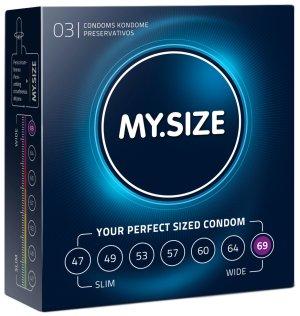 Kondomy MY.SIZE 69 mm, 3 ks – XL a XXL kondomy pro velké penisy