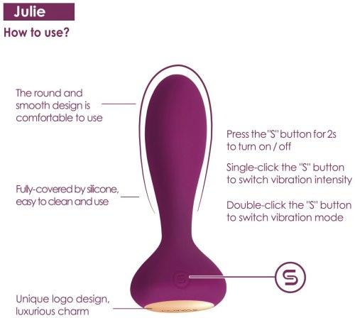 Vibrační anální kolík na dálkové ovládání Svakom Julie