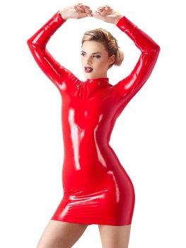 Latexové minišaty s dlouhým rukávem, červené – Latexové prádlo a oblečení pro ženy