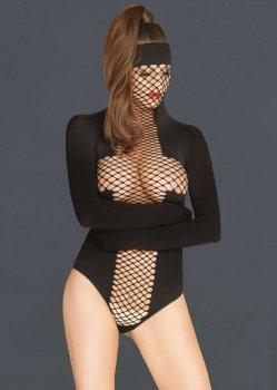 Body s maskou a zavazovacími rukávy – BDSM postroje, oblečení pro dominu, latex, kůže