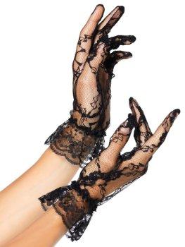 Krátké krajkové rukavice s volánkem Leg Avenue – Sexy rukavice