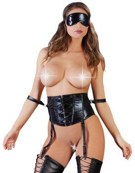 Korzet se šněrováním a pouty + maska na oči – Dámské sexy korzety