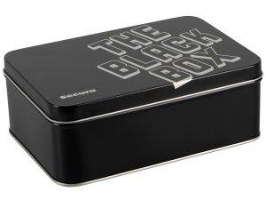 Černé kondomy s výstupky Secura The Black Box, 50 ks - v plechové dóze – Výhodné balíčky kondomů